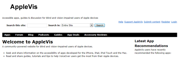 Apple vis website discription.
