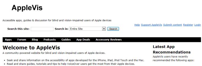 Apple vis website discription.