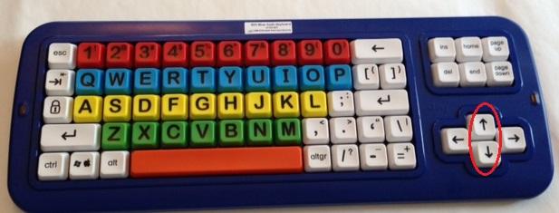 Big blue keyboard w up down arrow keys circled