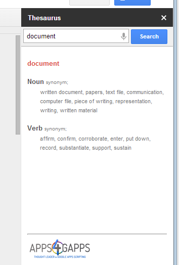 Thesaurus Google Docs New Google Menu ...