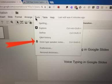 Voice typing slides