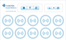 Image of sound stickers and recording icons