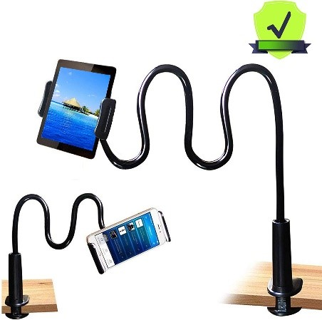 Flexable clamp on tablet or smartphone holder