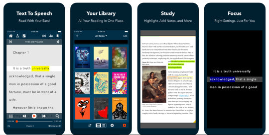 Voice Dream Reader app features, text to speech, library, study and focus.
