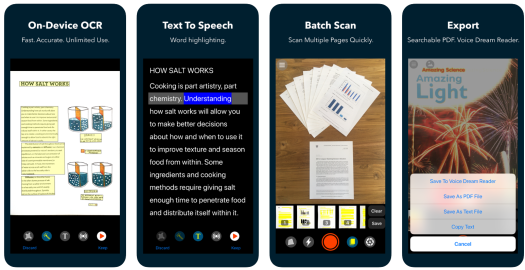 Voice dream scanner, OCR, Text to speech, batch scanning and export features